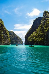 Mountains in the sea, Loh Samah Bay, Krabi Province, Thailand.