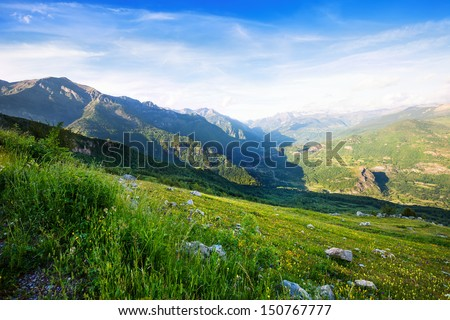 Mountains Landscape From Mountains Pass. Pyrenees