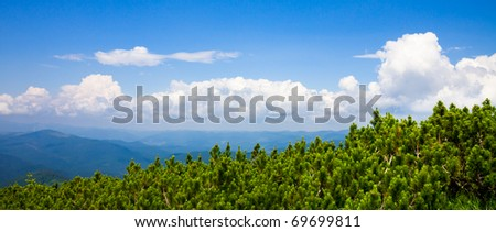Mountains landscape with clouds and blue sky