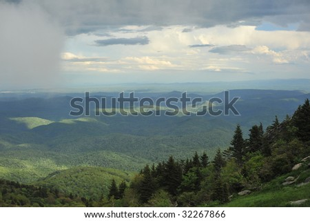 Mountains near Blue Ridge Parkway in the North Carolina Mountains near Grandfather Mountain - stock photo