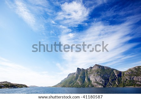 Mountains on a coastal landscape in northern Norway