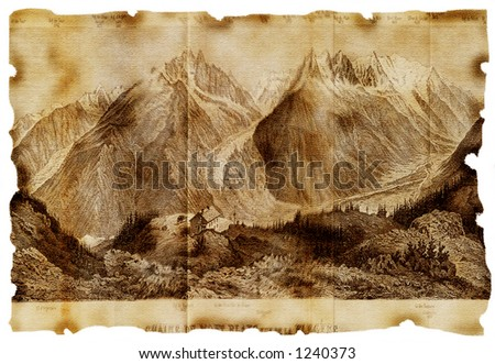 Mountains on aged paper