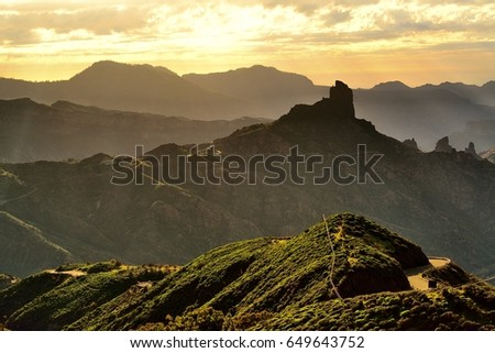 Mountains on Gran Canaria. Sunset. #649643752