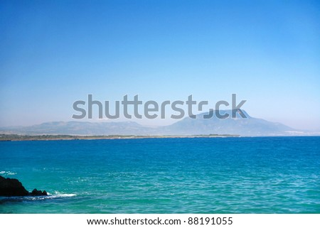 Mountains on island in Atlantic ocean, Dominican Republic