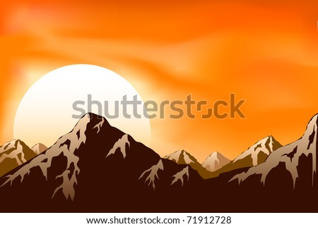 Mountains on the Sun background