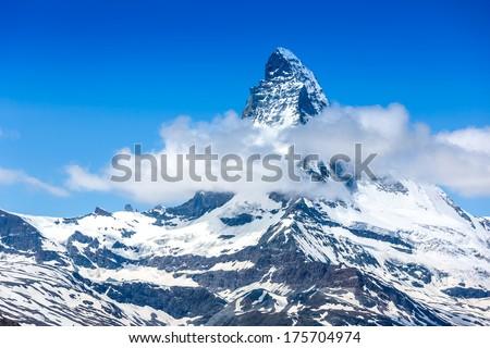 Stock Photo Mountains peak. Matterhorn. Swiss Alps