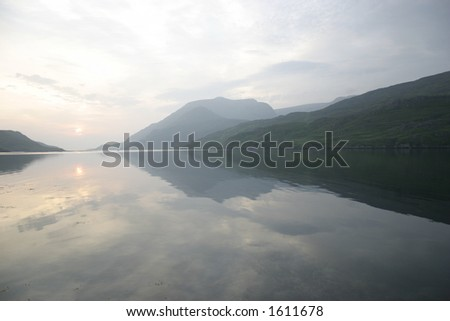 mountains reflecting in silent water