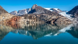 Mountains reflection, Sam Ford Fjord, Arctic Canada, Nunavut