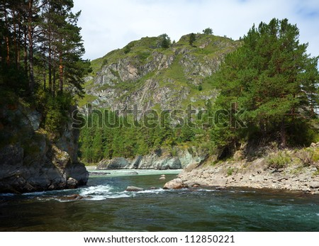 Mountains river with rocky riverside.  Katun, Altai, Siberia