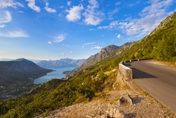 Mountains road and Kotor Bay on sunset - Montenegro - nature and architecture background