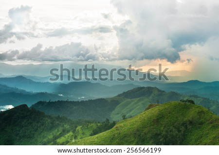 Mountains rural landscape in thunderstorm