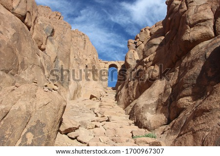 Mountains, sand and sand rocks in a beautiful, wonderful and delightful view of Egypt in St. Catherine