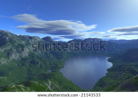 mountains scenery with blue sky
