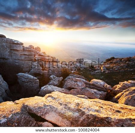 Mountains Sierra Del Torcal in Spain