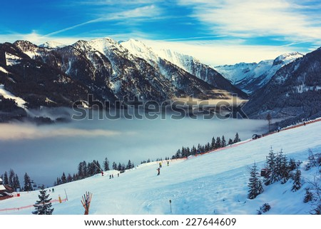 Mountains ski resort in Austria - nature and sport toning picture