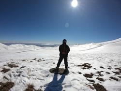 Mountains, skier posing in gear