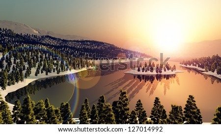 mountains snow sunset forest lake river