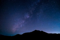 Mountains, the Milky Way, and stars in the beautiful night sky.