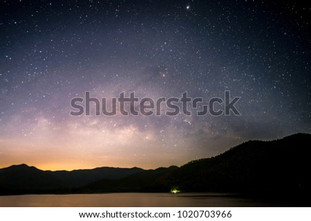 Mountains, the Milky Way and stars in the night sky are very beautiful. #1020703966