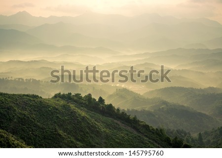 mountains under mist in the morning in Zixi county, Fuzhou city,Jiangxi Province,China #145795760