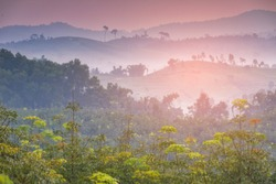 mountains under mist in the morning with beautiful sky in thailand.