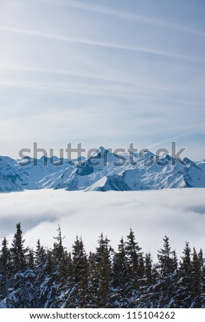 Mountains under snow. Ski resort Zell am See. Austria