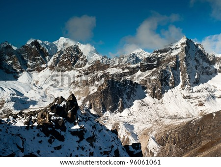 Mountains viewed from Renjo pass in Himalayas. Nepal. At height 5300m