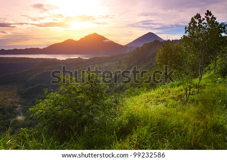 Mountains with lake and green lush meadow with tree on a hill side at rising sun lighting