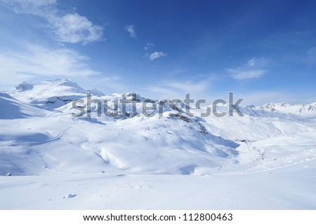 Mountains with snow in winter, Val-d'Isere, Alps, France #112800463
