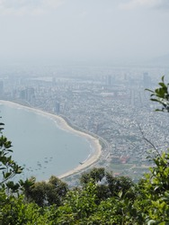 Mountaintop view looking down on Da Nang City and Coastline Vietnam