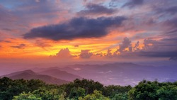 Mountaintop view of rolling hills in the Blue Ridge Mountains  in Georgia, USA.