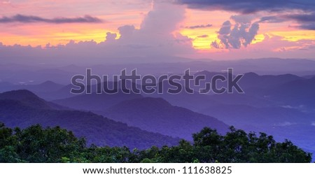 Mountaintop view of rolling hills in the Blue Ridge Mountains in north Georgia, USA.