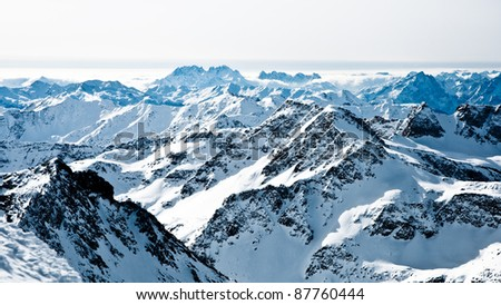 mountaintops in winter  alps