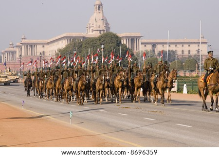 Mounted soldiers parading down the Raj Path, New Delhi in preparation for the Republic Day Parade