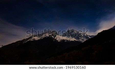 Mountine Peak Grand Bec based in Savoie, France (French Alps) lighted by the full Moon. Photo stock ©