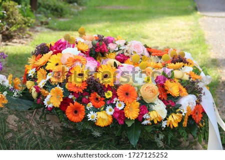 Mourning wreath with colorful flowers after a funeral  Photo stock ©