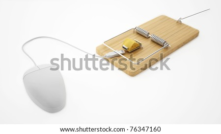 mouse and mouse trap with cheese - isolated on white