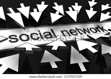 Mouse arrow on concept of social network