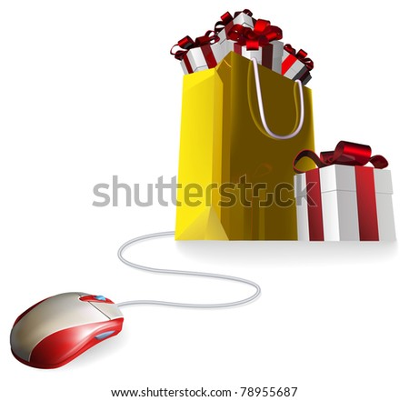 Mouse attached to a shopping bag with giftst concept. Buying gifts by online shopping or being given gifts for surfing the web or buying online.