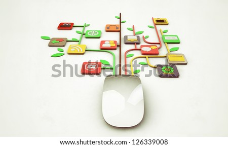 mouse connected with web icons isolated on white background