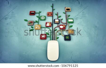 mouse connection isolated on blue background - stock photo