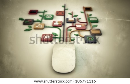 mouse connection isolated on white background