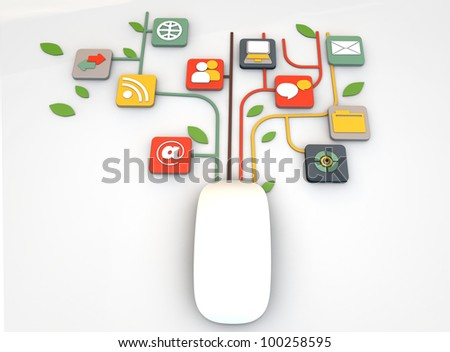 mouse connections isolated on white background