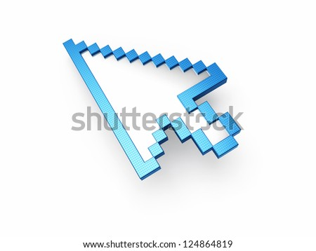 Mouse Cursor to the blue patterned (isolated on white and clipping path)
