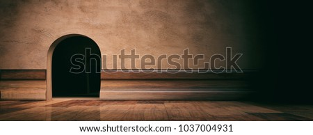 Mouse house hole on brown plastered wall, wooden floor and skirting, banner, space for text. 3d illustration