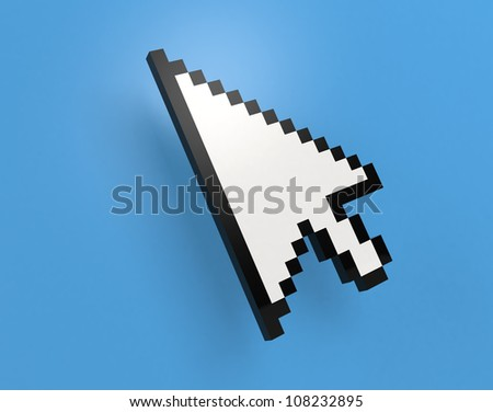 mouse pointer on blue background