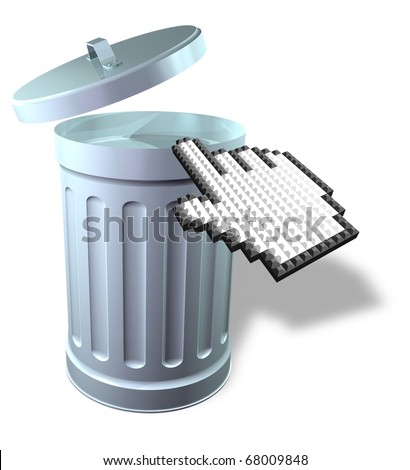 Mouse pointer with 3D trash can