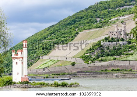 Mouse Tower and ruins of Ehrenfels Castle, Rhineland-Palatinate, Germany