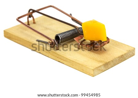 Mouse trap isolated on a white background.