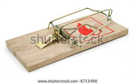 Mouse trap isolated on white background.